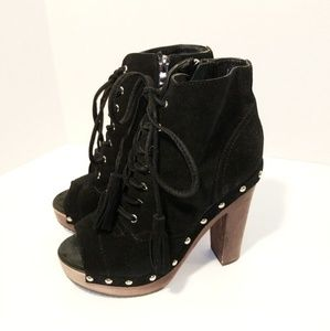 Black Rooster Black Open Toe Studded Booties